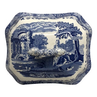 19th Century Antique English Blue and White Tureen Lid For Sale