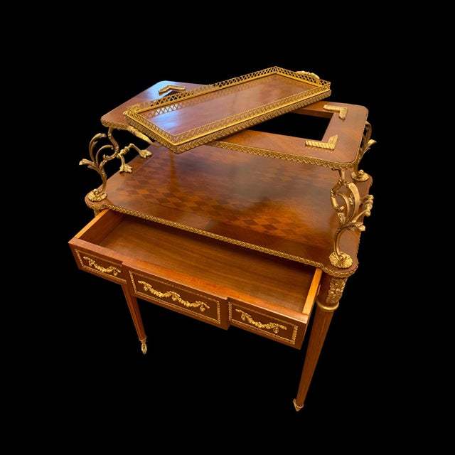 French Louis XVI Rolling Serving Table For Sale - Image 4 of 5