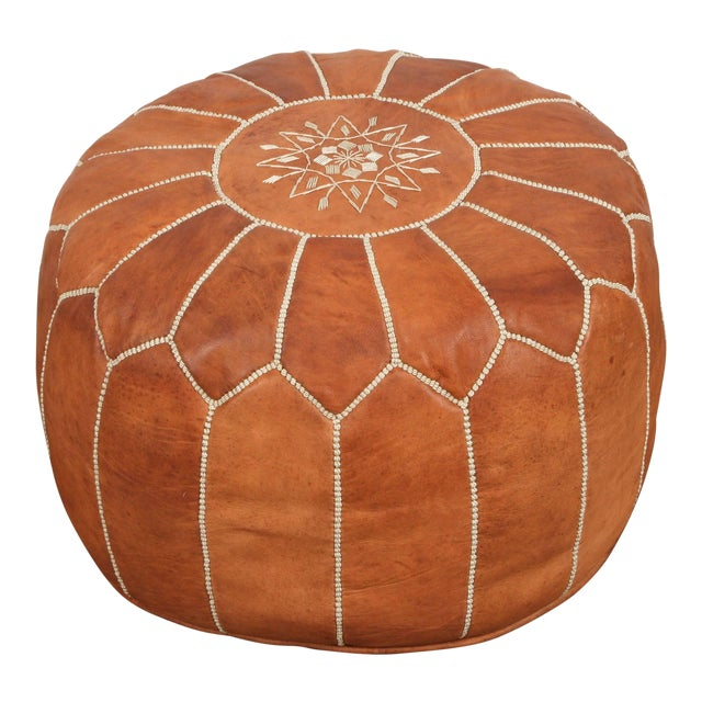 Late 20th Century Vintage Moroccan Handcrafted Leather Camel Ottoman For Sale