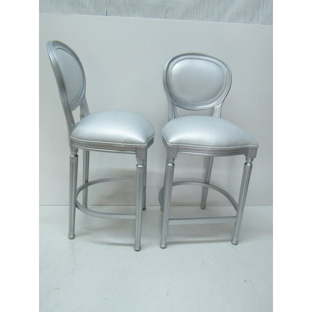 1980s 1980s Vintage Silver Beechwood Barstools With Metallic Faux Leather Seats- A Pair For Sale - Image 5 of 6