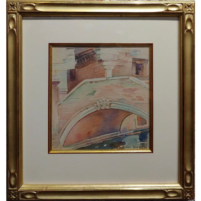 "Dana Bartlett -Venice Bridge ""Ponte Delle Tette"" Beautiful Painting c.1920s watercolor on paper -Signed under glass and..."