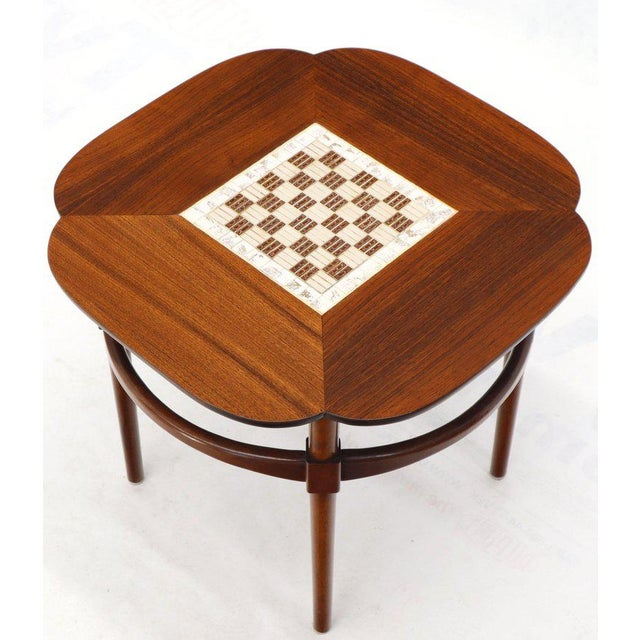 Pair of Clover Shape Tile and Walnut Top Round End Side Occasional Tables For Sale - Image 12 of 13