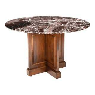 Early 20th Century French Bordeaux Marble Table With Cruciform Pedestal For Sale