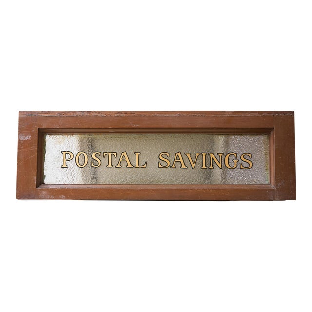 Vintage United States Post Office Glass & Wood Sign For Sale