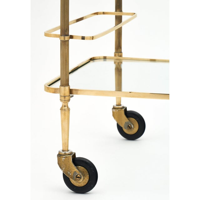 French Art Deco Period Brass Bar Cart With Finials For Sale - Image 9 of 10