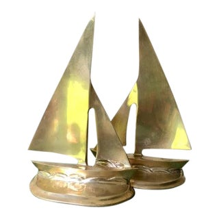 Vintage Brass Sailboat Bookends - A Pair