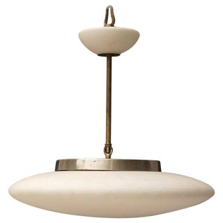Mid-Century Modern White Opaque Saucer Pendant Light For Sale
