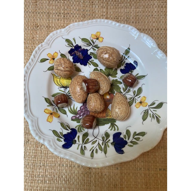 Rare Este Ceramiche of Italy Trompe L'Oleil plate. Gorgeous nuts adorn the handpainted floral plate. This was produced for...