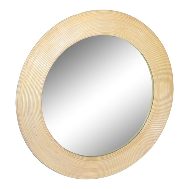 Mid-Century Modern Round Handmade White Washed Pencil Reed Wall Mirror For Sale