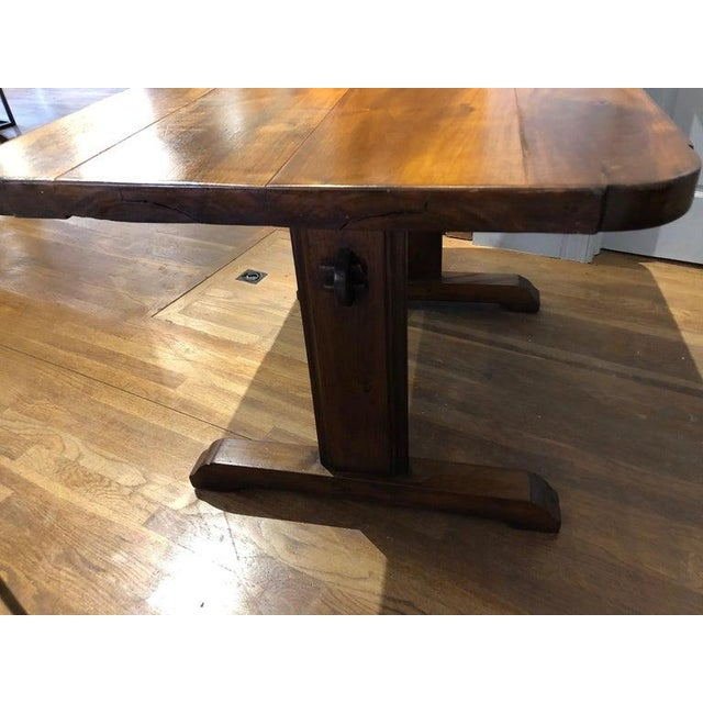 19th Century French Provincial Circassian Walnut Table With Trestle Base For Sale - Image 4 of 6