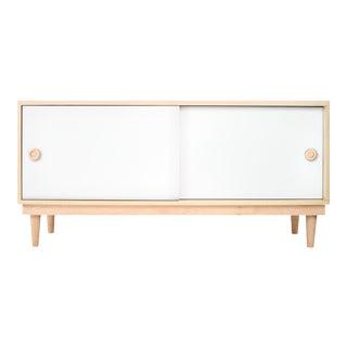 Nico & Yeye Luke Modern Kids Credenza Console Solid Maple and Maple Veneers White For Sale
