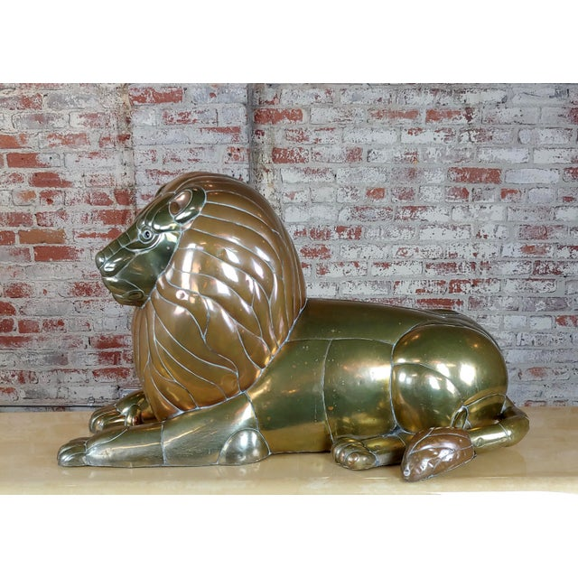 "Sergio Bustamante - Resting Lion Brass & Copper sculpture Signed and numbered , Edition 83/100, dimensions 17.25"" H x..."