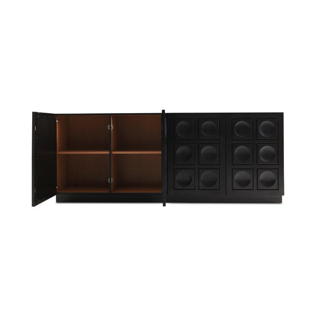 Brutalist Ebonized Oak Credenza With Geometrical Doors For Sale - Image 6 of 10