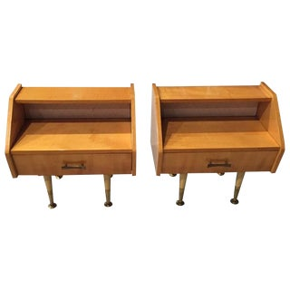 French Sycamore Night Stands - A Pair For Sale