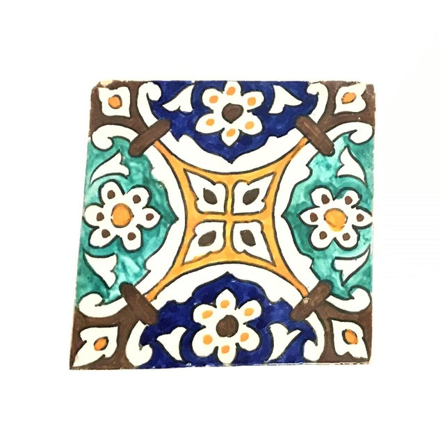 Hand Painted Large Moroccan Decorative Tile - Image 2 of 2