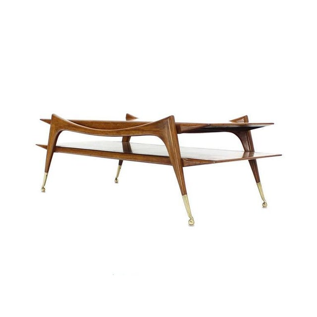 Sculptural Base Two Tier Mid Century Modern Coffee Table on Metal Ball Feet For Sale In New York - Image 6 of 6