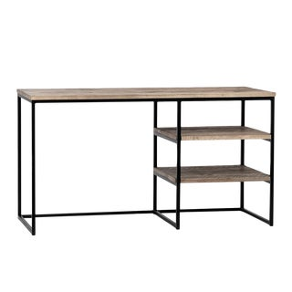 Rustic Oak & Iron Desk For Sale