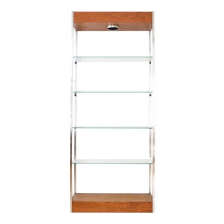 Mid-Century Glass & Wood Lighted Etagere