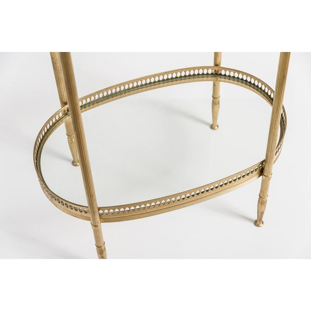 1960s French Brass Two Tiers Petite Gallery Table After Maison Jansen C.1970 For Sale - Image 5 of 10