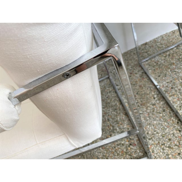 1970s Milo Baughman Thin Line Chairs in Polished Chrome - a Pair For Sale - Image 5 of 13