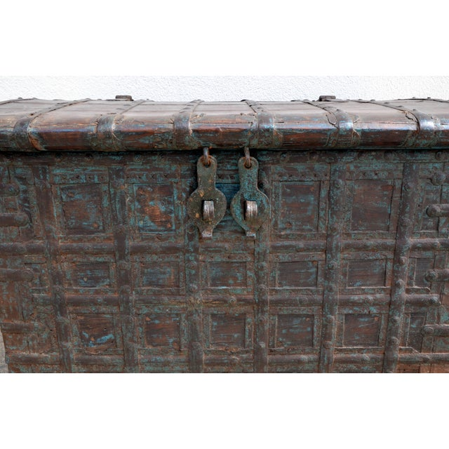 Mid Century Weathered Bronze Clad Wood Trunk For Sale - Image 4 of 8
