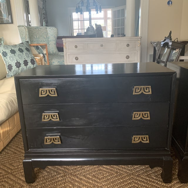 Asian Black Lacquered Chinoiserie Chests With Brass Pulls- a Pair For Sale - Image 3 of 13