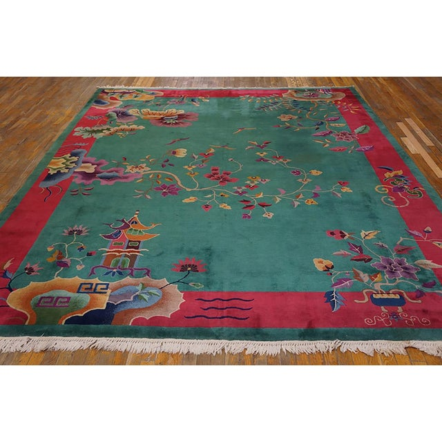 "Antique Art Deco Chinese Rug 9'2"" x 11'8"""