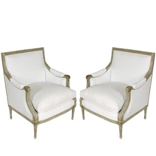 1930s Vintage Louis XVI Style Bergere Chairs- A Pair For Sale