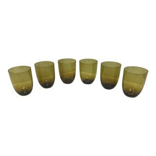 Vintage Mid-Century Olive Green Stemless Wine Glasses - Set of 6 For Sale