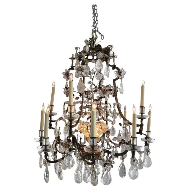 Louis XV Rock Crystal Chandelier by Maison Baguès Lighting in Paris For Sale