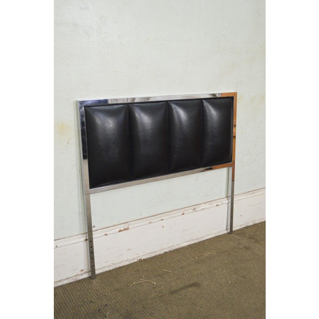 Milo Baughman Mid Century Modern Pair of Chrome & Black Faux Leather Twin Headboards - Image 5 of 11