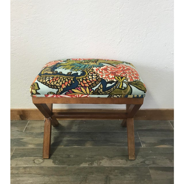 Asian Schumacher Chiang Mai Dragon Aquamarine Upholstered X Bench For Sale - Image 3 of 3