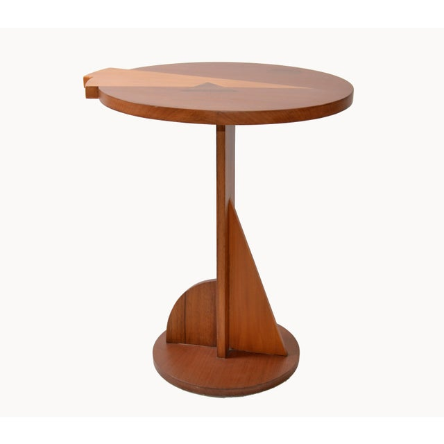 Mid-Century Modern Round Mahogany Wood Marquetry Side / Cocktail Table Italy For Sale - Image 4 of 13