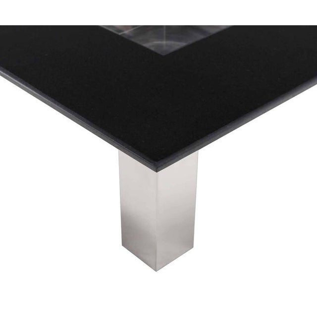 Silver Mid-Century Modern Square Granite Top Coffee Table For Sale - Image 8 of 11