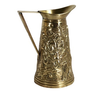 Vintage English Style Rustic Traditional Brass Pitcher For Sale