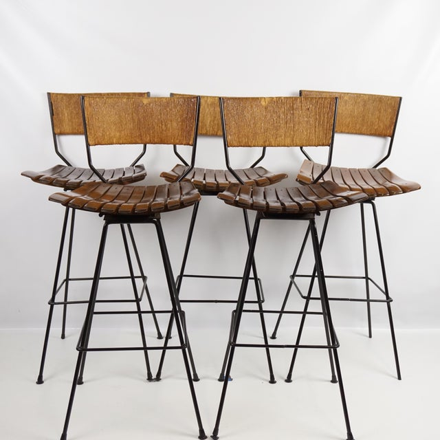 Arthur Umanoff Mid-Century Iron Bar Stools - Set of 5 - Image 2 of 11