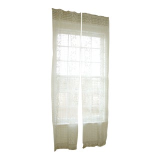 French Aged White Lace Curtains - a Pair For Sale