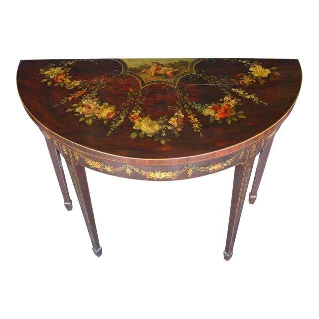 George III Paint Decorated Demilune Game Table, circa 1780 For Sale