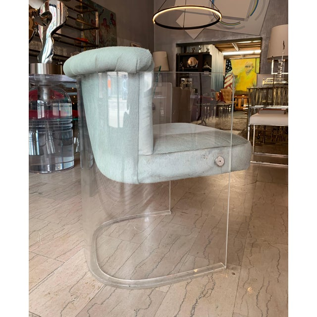 Transparent Set of 4 Barrel Chairs in Lucite and Pony Hair Leather For Sale - Image 8 of 12