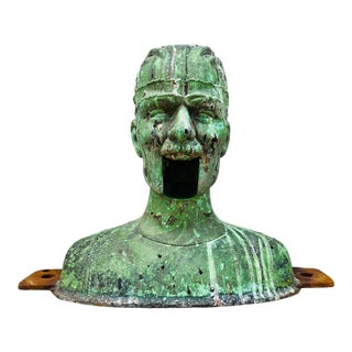 Vintage Ventriloquist Head Foundary Metal Cast Mold Statement Piece Industrial Decor Nuclear Green Paint Surface For Sale