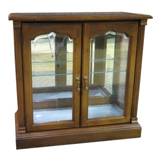 1970s Traditional Lighted Two Door Curio Console Cabinet with Beveled Glass For Sale