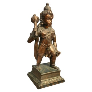 Vintage Hindu Hanuman God Brass Statue For Sale