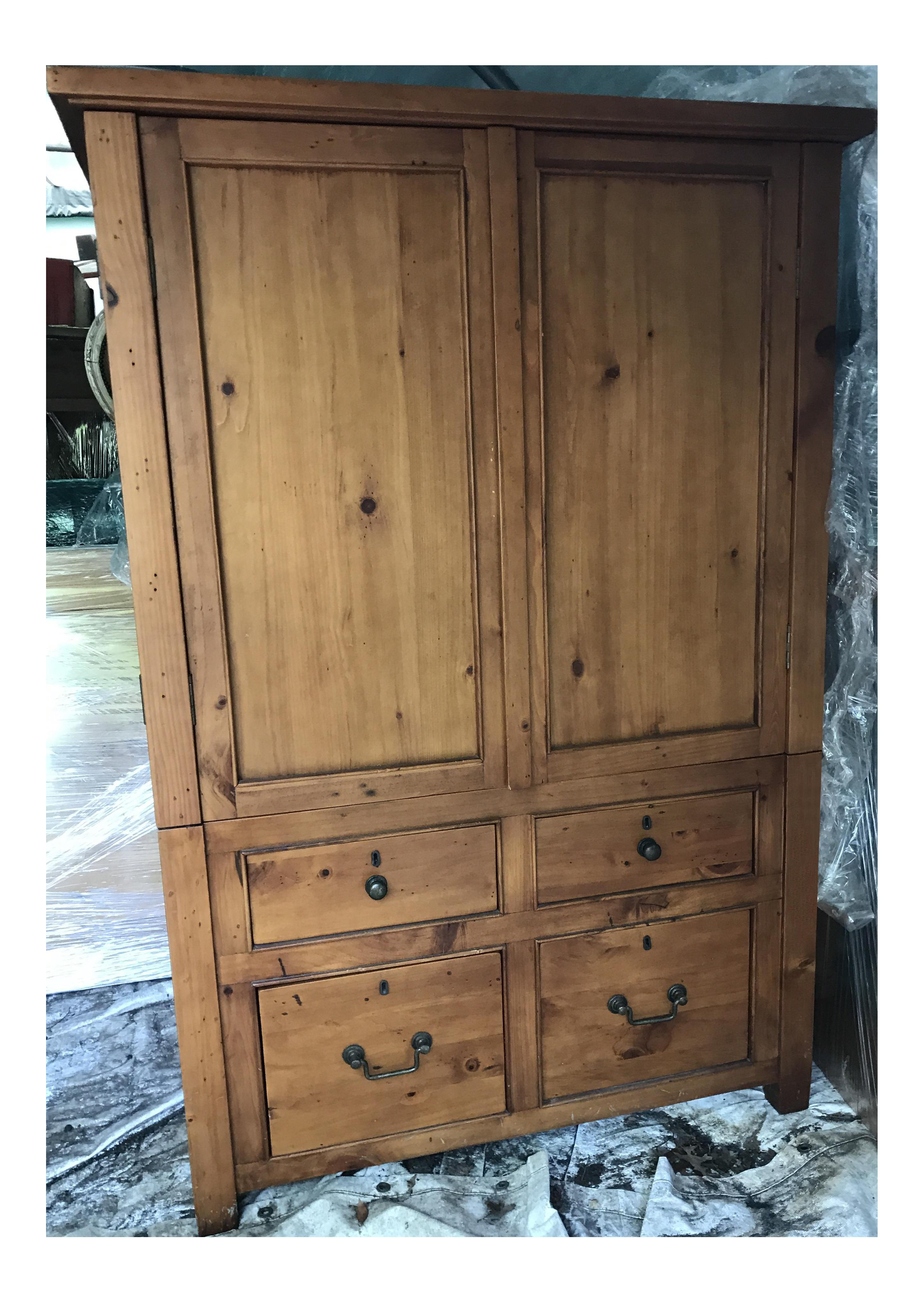 Knotty Pine Tv Cabinet Armoire Chairish