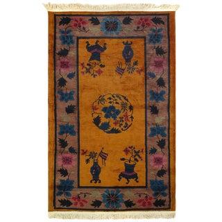 "Pasargad Orange Antique Chinese Art Deco Rug-3'1'' X 4'9"" For Sale"