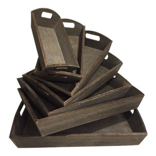 Wooden Nesting Trays - Set of 7 For Sale