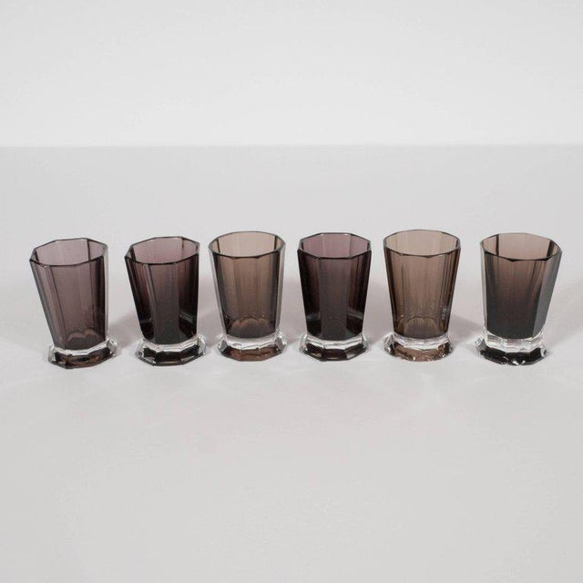 Glass French Art Deco Seven Piece Smoked Glass Bar Set with Decanter and Shot Glasses For Sale - Image 7 of 9