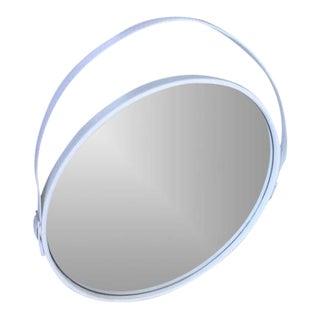 George Round White Mirror W/ White Leather Steel Strap