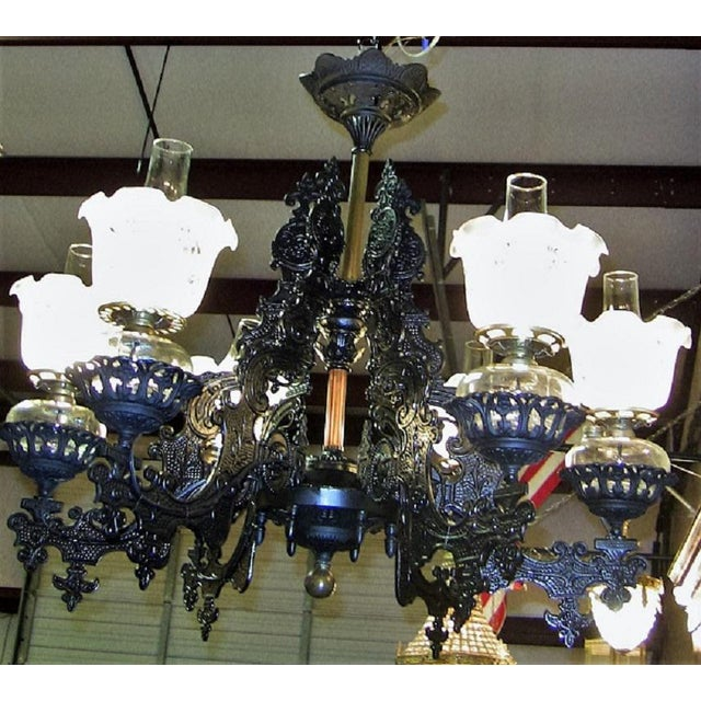 Bronze 19c Bradley & Hubbard Cast Iron 6 Arm Chandelier For Sale - Image 7 of 13