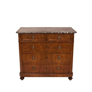 French 1850s Louis Philippe Walnut Marble Topped Commode For Sale
