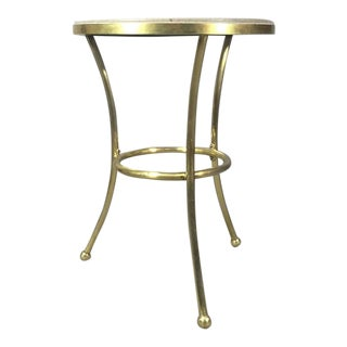 French Art Deco Brass and Marble Topped Pub Table